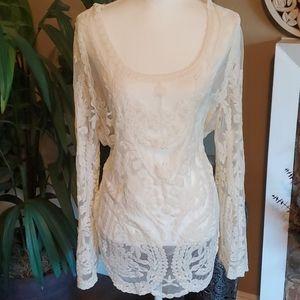 Lace cover blouse beige size 1x